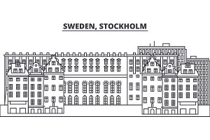 Sweden, Stockholm line skyline vector illustration. Sweden, Stockholm linear cityscape with famous landmarks, city sights, vector landscape.