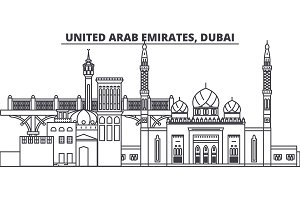 United Arab Emirates, Dubai line skyline vector illustration. United Arab Emirates, Dubai linear cityscape with famous landmarks, city sights, vector landscape.
