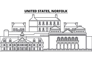 United States, Norfolk line skyline vector illustration. United States, Norfolk linear cityscape with famous landmarks, city sights, vector landscape.