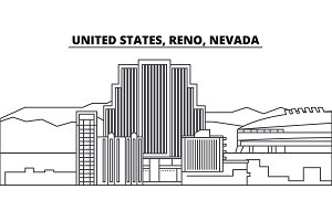 United States, Reno, Nevada line skyline vector illustration. United States, Reno, Nevada linear cityscape with famous landmarks, city sights, vector landscape.