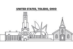 United States, Toledo, Ohio line skyline vector illustration. United States, Toledo, Ohio linear cityscape with famous landmarks, city sights, vector landscape.