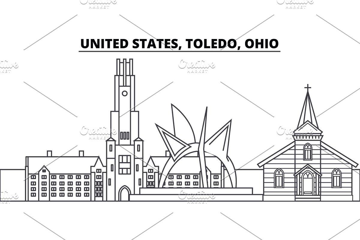 United States, Toledo, Ohio line skyline vector illustration  United  States, Toledo, Ohio linear cityscape with famous landmarks, city sights,  vector