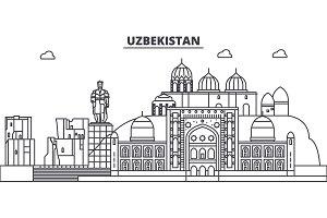 Uzbekistan line skyline vector illustration. Uzbekistan linear cityscape with famous landmarks, city sights, vector landscape.