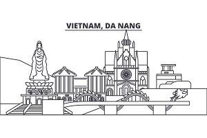 Vietnam, Da Nang line skyline vector illustration. Vietnam, Da Nang linear cityscape with famous landmarks, city sights, vector landscape.