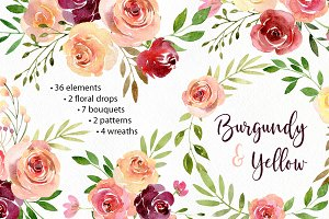 Watercolor Flowers Arrangements PNG