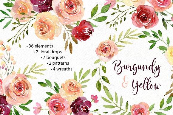Watercolor Flowers Arrangements Png Illustrations Creative Market