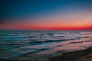 Magical sunset on the beach