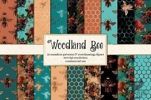 Woodland Bee Digital Paper