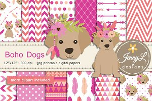 Boho Dogs Digital papers & Clipart
