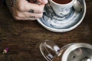 Cup of hot herbal tea