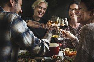 Friends enjoying a nice dinner