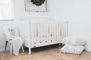 Peach Floral Crib Sheet