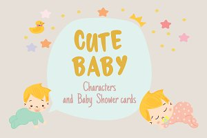 Cute baby character, baby shower