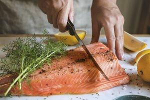 Fresh salmon with dill