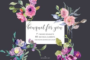 Hand Painted Watercolor Clipart