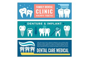 Horizontal banners for dental clinic with illustrations of teeth
