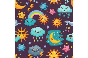 Various funny weather icons set. Cartoon seamless pattern