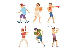 Different sports activities. Sportsmen in action poses. Vector characters