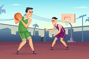 Background illustrations of basketball players playing on the court