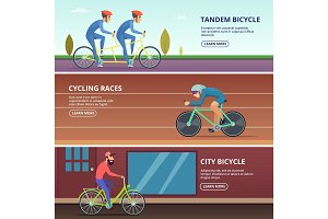 Banners set with horizontal illustrations of various cyclists