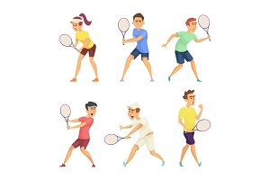 Tennis players isolate on white background