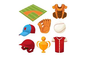 Baseball cartoon icons set isolate on white