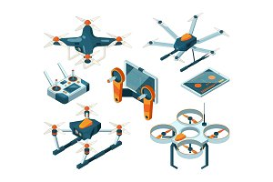 Different isometric illustrations of drones and quadcopters