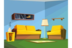 Living room interior in cartoon style