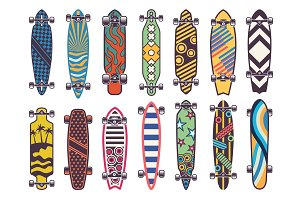 Vector colored illustrations on skateboards