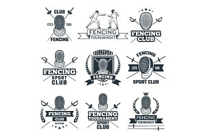 Monochrome badges set of fencing sport