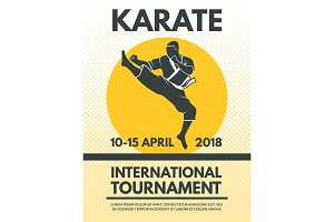 Retro poster invitation at karate fighting championship