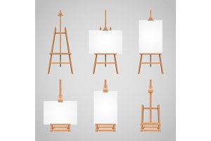 Set illustrations of canvases standing on wooden easels