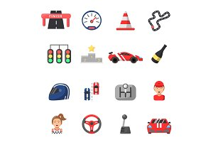 Flat icon set of formula 1 cars and racing symbols