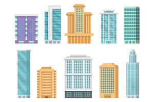 Flat illustrations of various modern skyscrapers and other business buildings