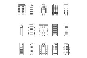 Mono line vector illustrations of modern buildings