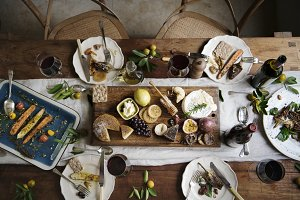 Rustic style dinner with cheese plat