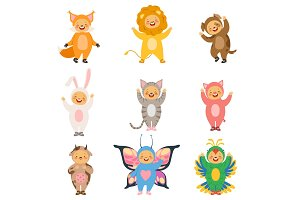 Carnival kids clothes. Costumes of funny cartoon animals
