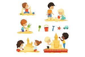 Active kids playing in the sandbox. Happy characters isolate