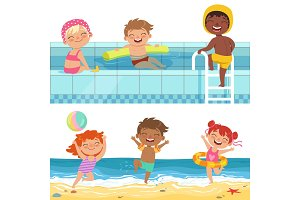 Summer water games in aquapark. Cartoon illustrations of funny kids