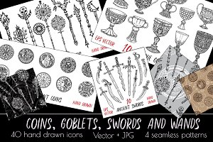 Coins, goblets, swords and wands