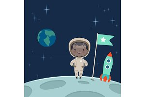 Kid astronaut standing on the moon. Space background illustration