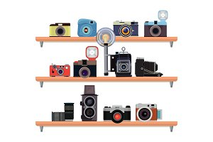 Retro cameras ant specific details for photographers standing on the shelves