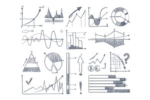 Business charts and diagrams set in doodle style. Vector pictures