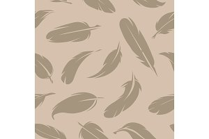 Seamless pattern of various feathers. Monochrome pictures