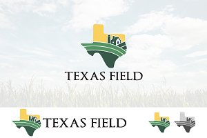 Texas Map Field Agriculture Logo