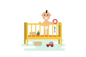 baby in crib with toys
