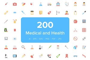 200 Medical and Health Flat Icons