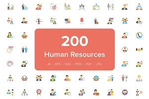 200 Human Resource Flat Icons