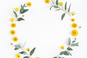 Flowers composition. Wreath made of