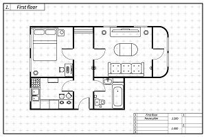 Black architecture plan of house